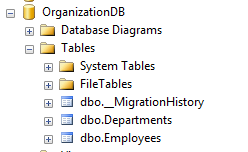 Database created by EF