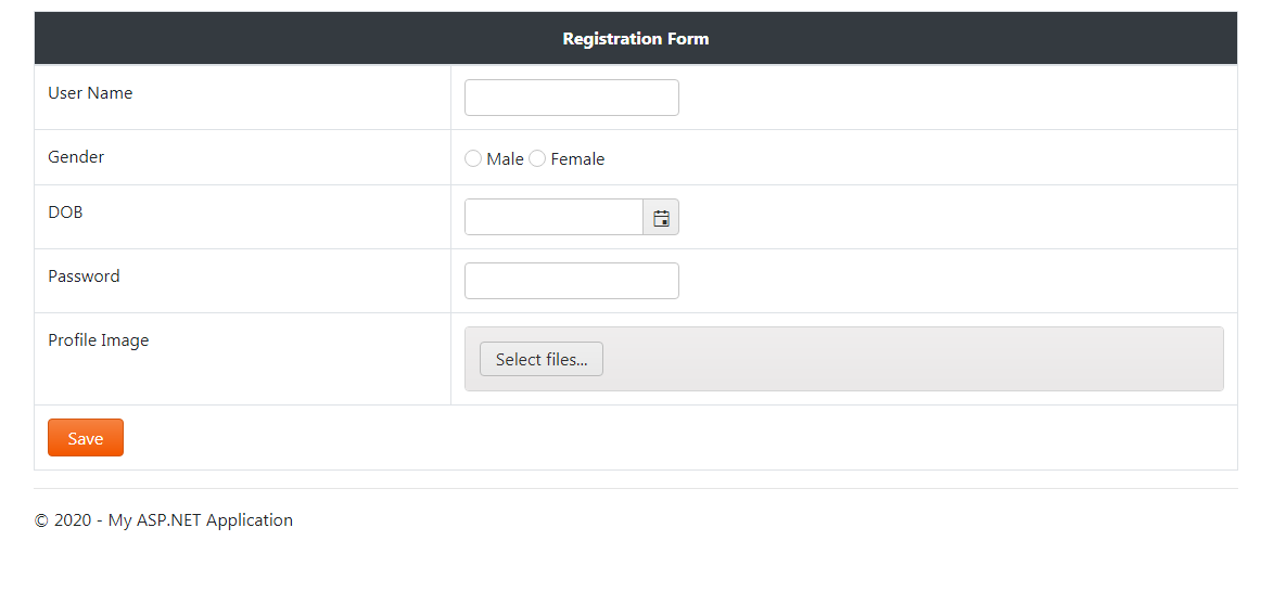 Registration Form designed with Kendo UI